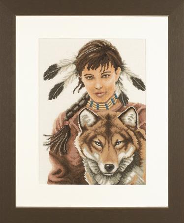 Индейская девушка с волком
